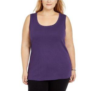 Karen Scott Women's Plus Cotton Studded Tank Top